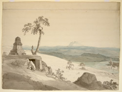 Temple near Bangalore (Mysore), with Savandrug in the distance. 1 May 1792
